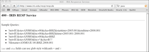 Screenshot of the IRIS RESP web service