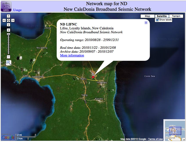 Screenshot of ND Network from New Caledonia and Fiji