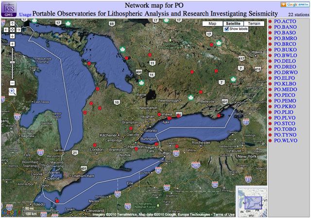Screenshot of the PO Network in Ontario