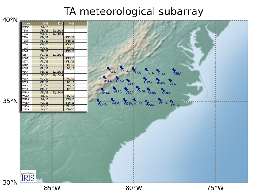 Map of 25 neighboring USArray TA stations