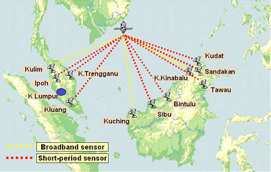 Map of the Malaysian National Seismic Network