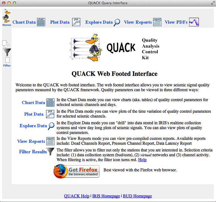QUACK web interface
