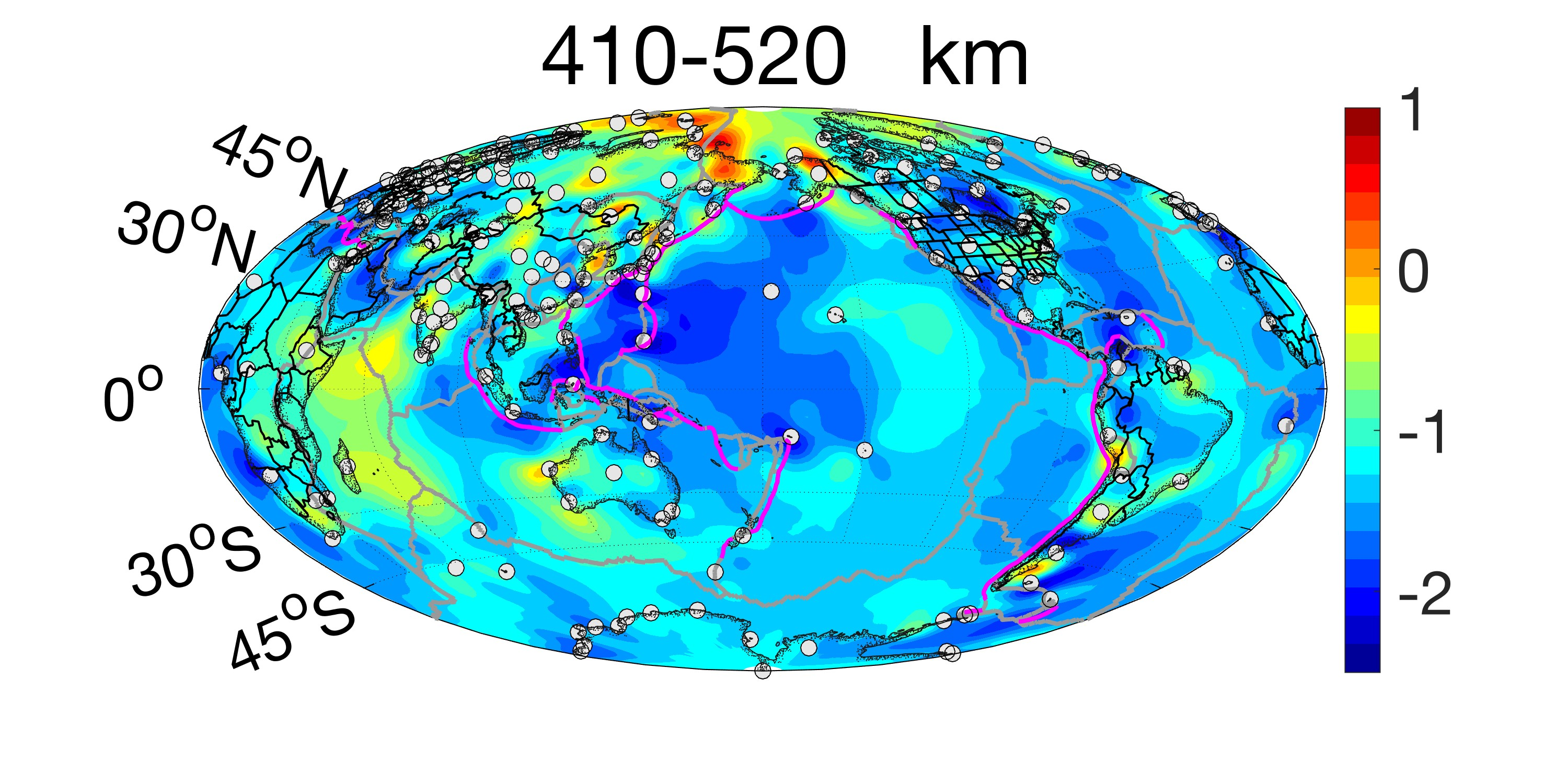 Plot of sigma at the depth of 410 to 520 km.