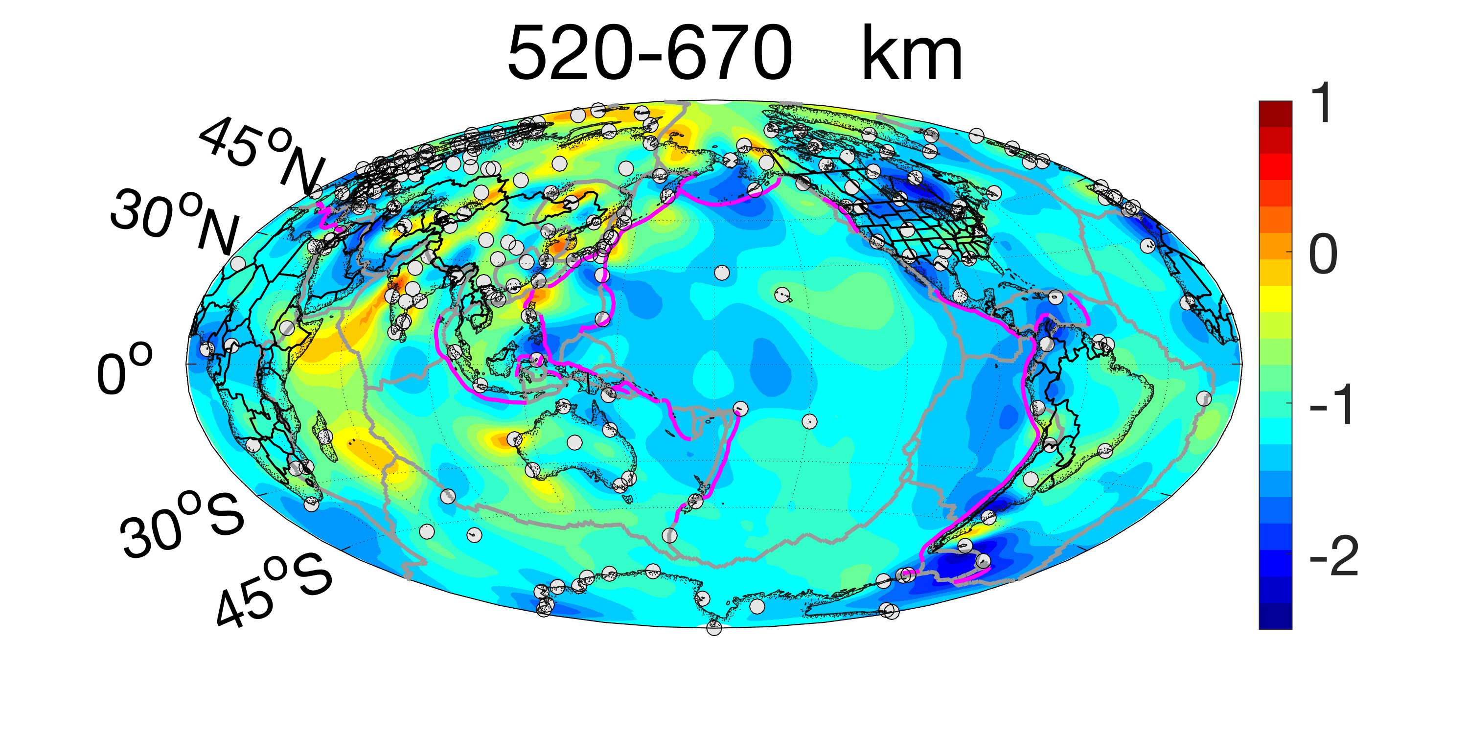 Plot of sigma at the depth of 520 to 670 km