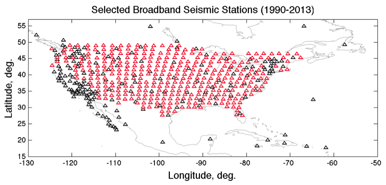 Map of NA broadband stations