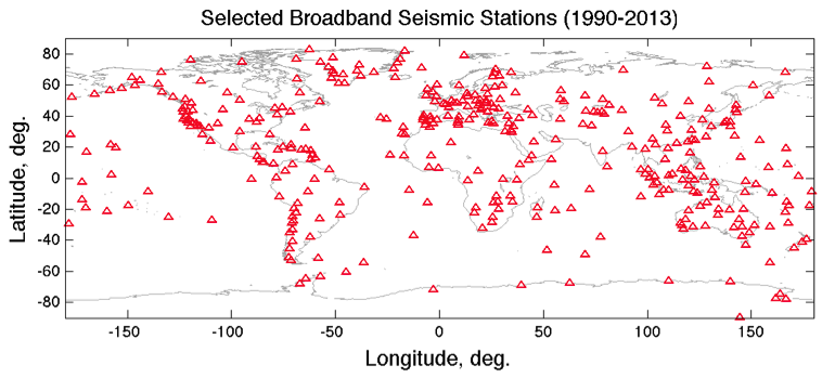 Map of global broadband stations