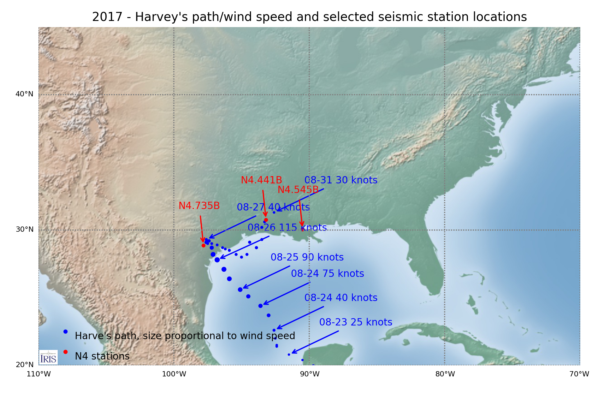 Path/wind speed of Harvey