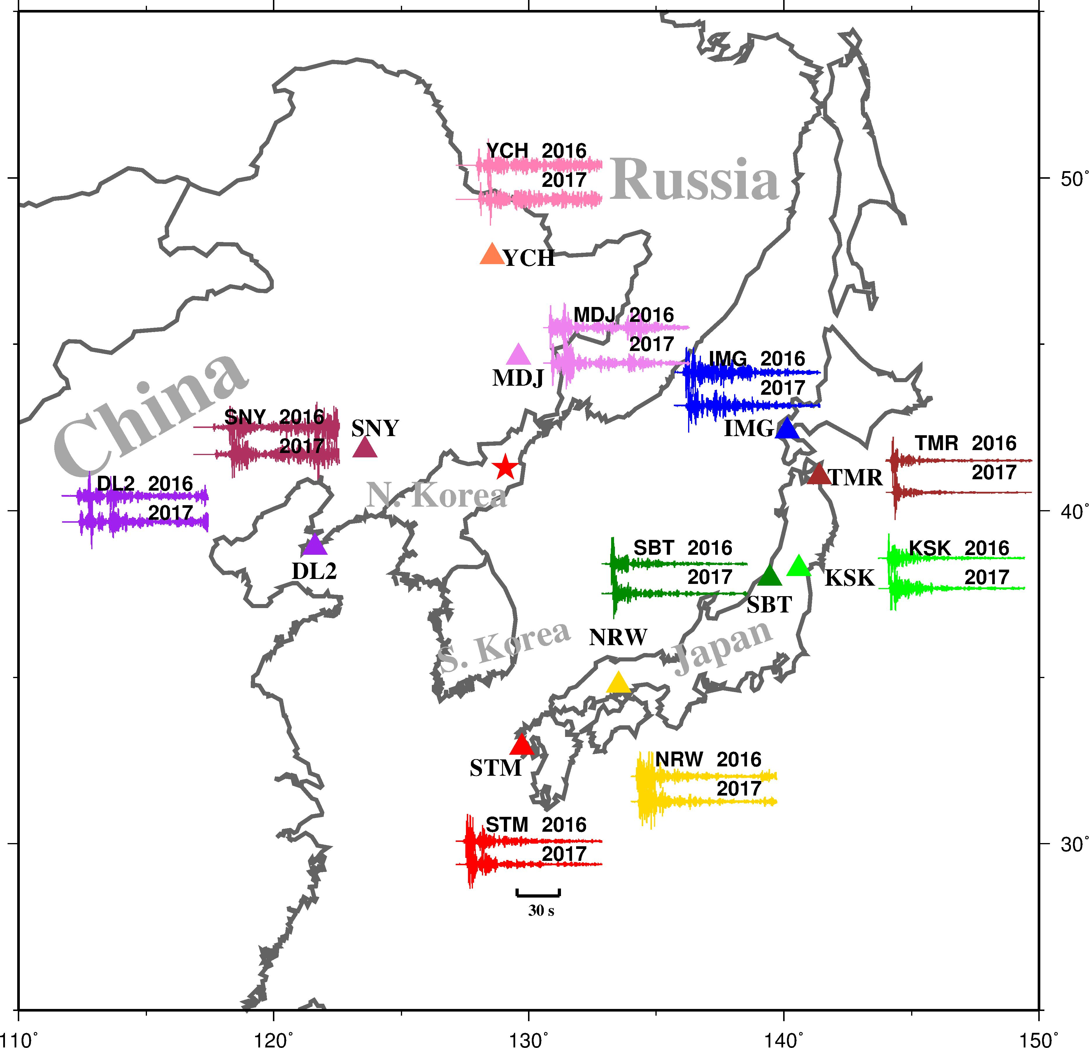 Map showing North Korea's 2017/09/03 and 2016/09/09 nuclear test sites
