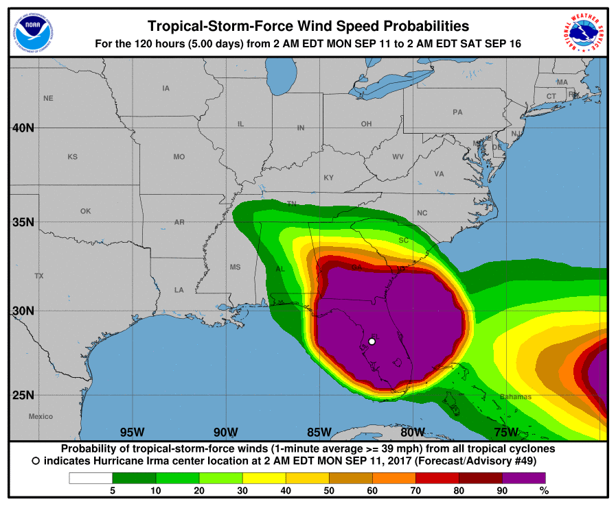 Tropical-Storm-Force wind speed probabilities