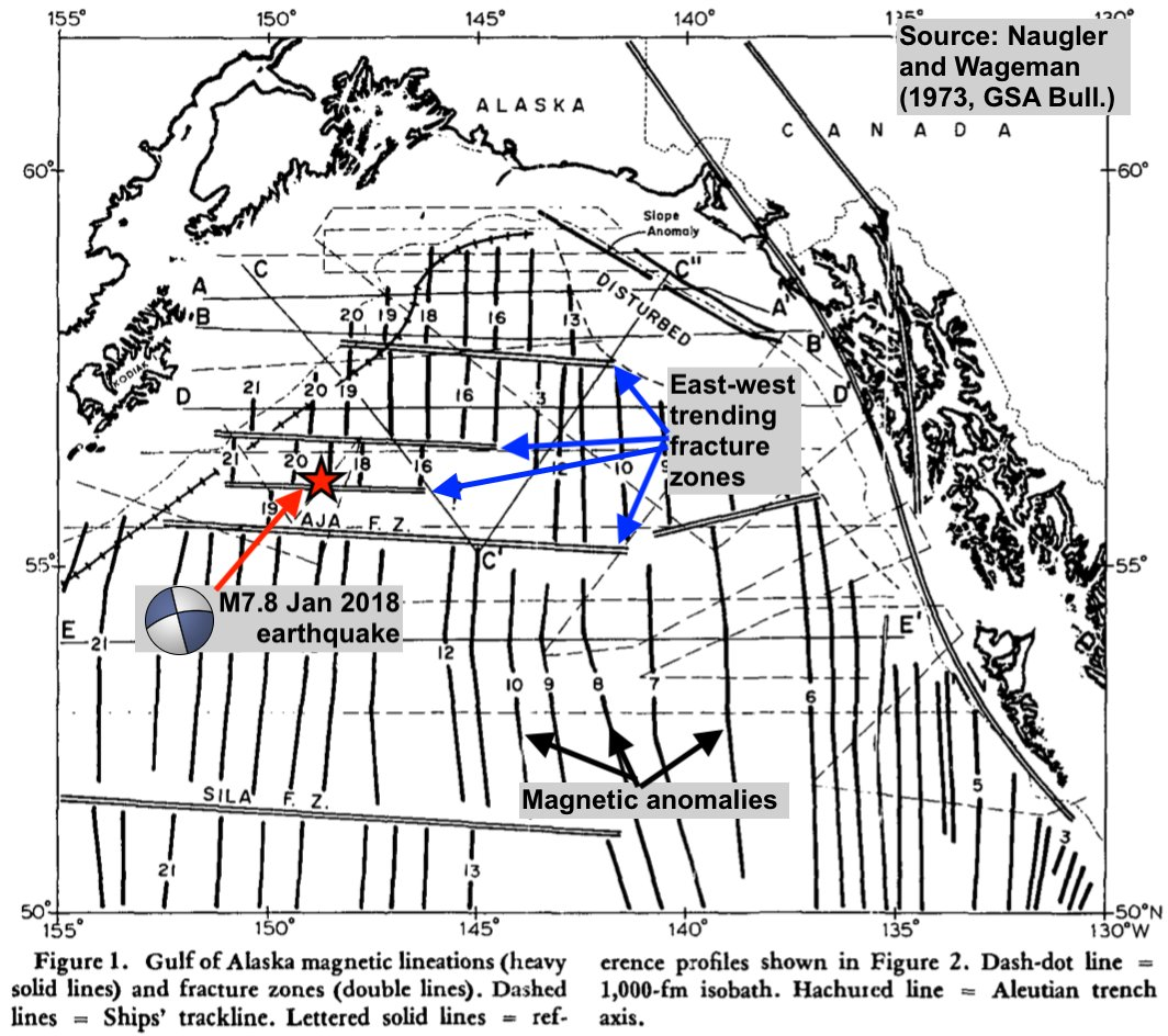 Map of sea-floor geophysical features in Gulf of Alaska