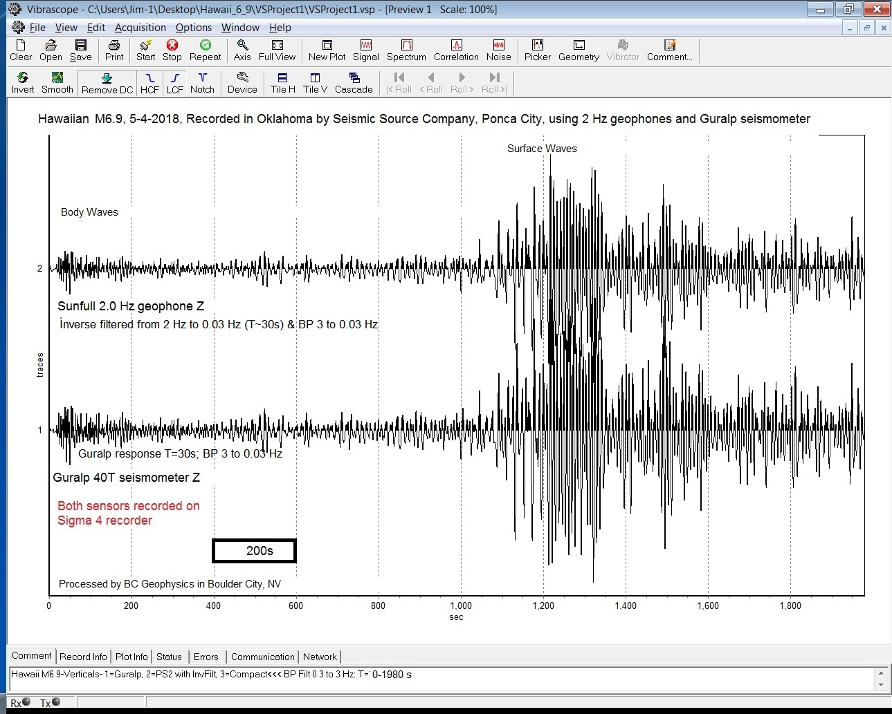 M6.9 recorded with geophones in NV & OK