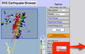 Image of earthquake browser with 1000 quakes in Fiji region selected