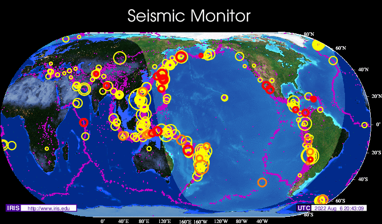 Seismic Monitor Recent Earthquakes On A World Map And Much More - Image world map