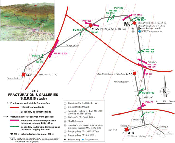 Map of galleries and positions of seismometers