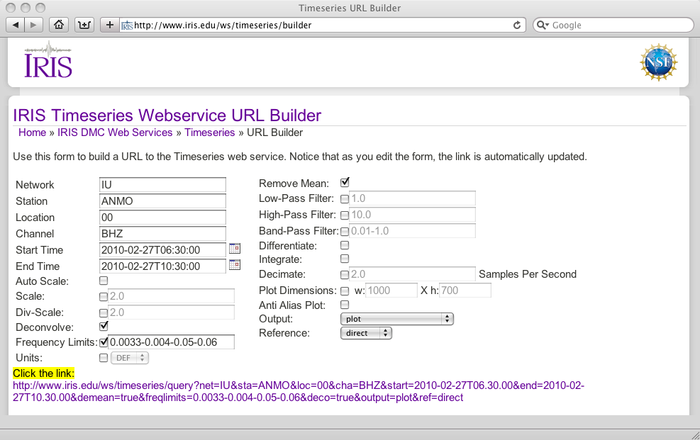 Screenshot of the time series builder