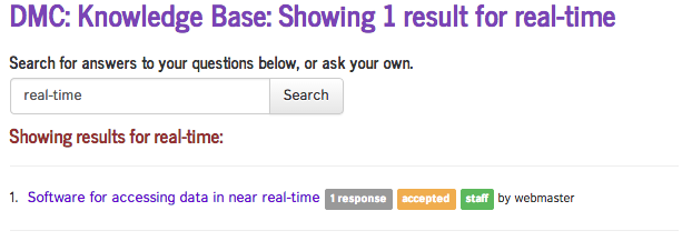 Search results for accessing real-time data screenshot