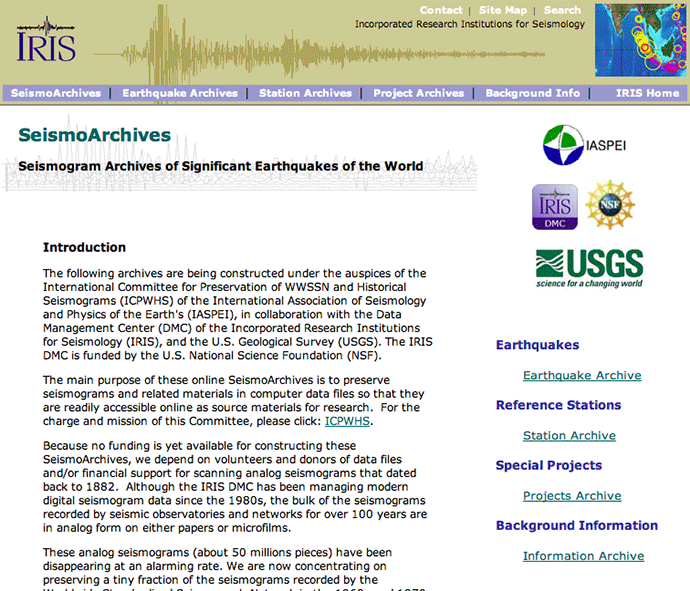 SeismoArchive web-based interface