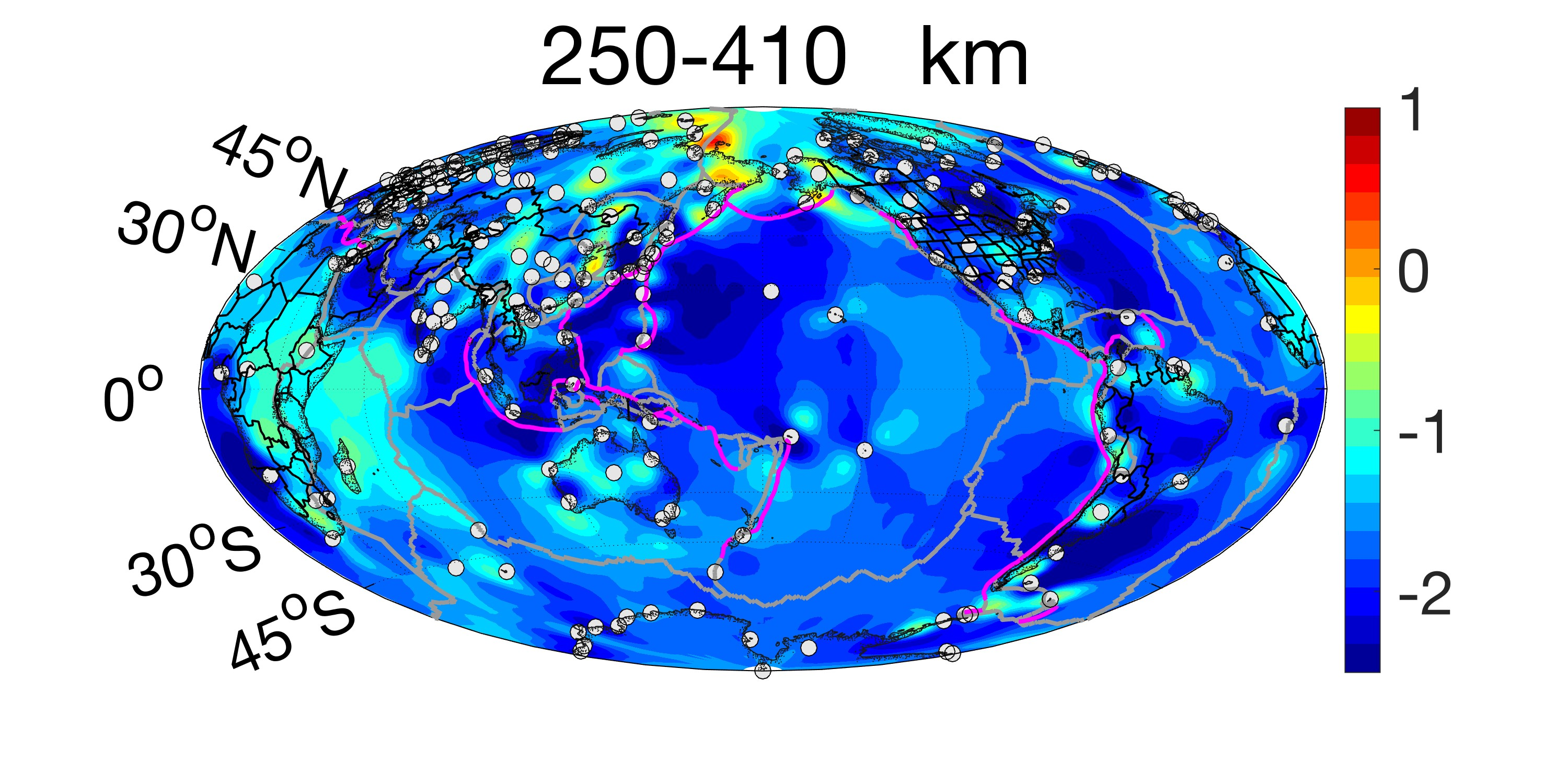 Plot of sigma at the depth of 520 to 410 km