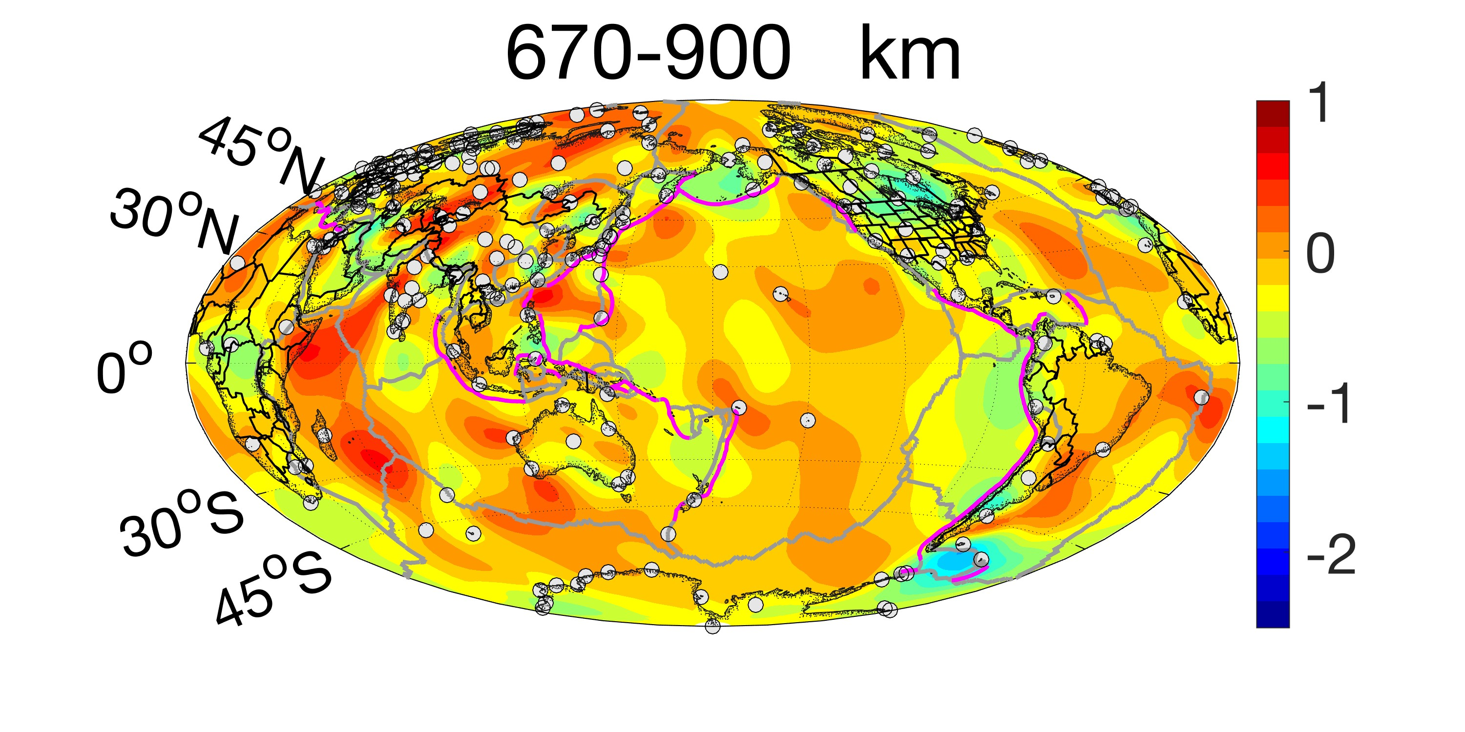 Plot of sigma at the depth of 670 to 900 km