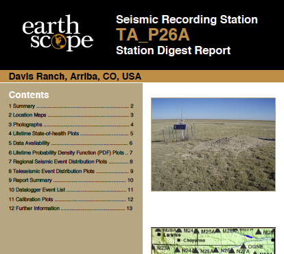 Cover of a Station Digest Report