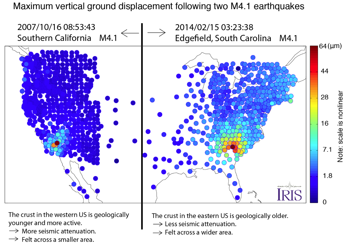 Peak displacements following two M4.1 earthquakes