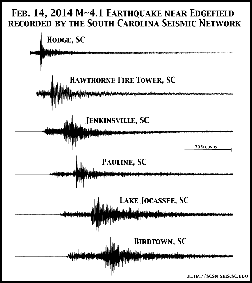 Record section from the South Carolina Seismic Network