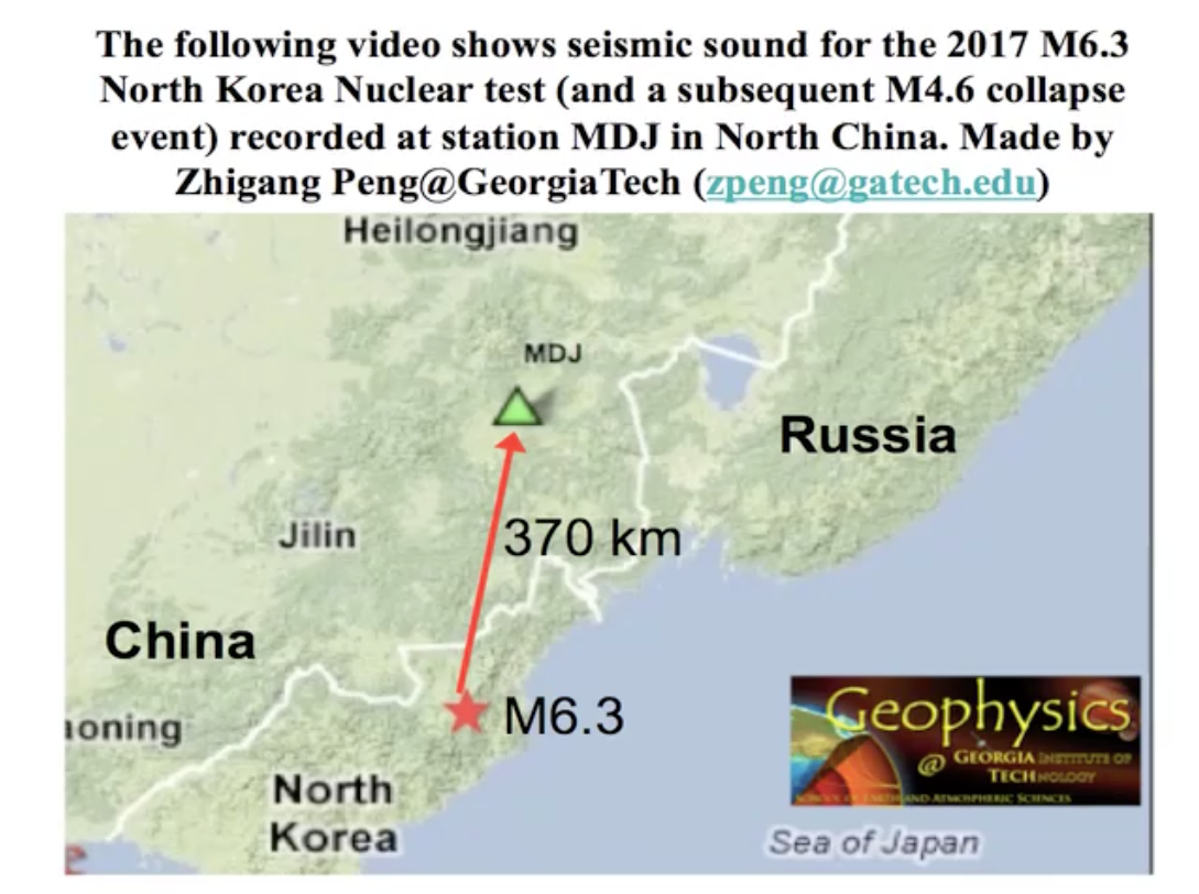 IRIS Special Event North Korean Nuclear Test - Georgia map test